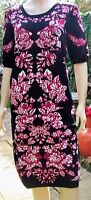 ADRIANNA PAPELL Claret Floral Print Jacquard Style Dress Size L  RRP £110