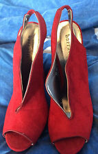 BARRATTS Red Velvet Feel Throat Wedges Shoes UK size 7 EU 40 Party Wedding