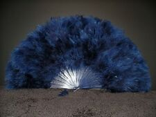 "MARABOU FEATHER FAN - NAVY BLUE Feathers 12"" x 20"" Burlesque/Wedding/Costume"
