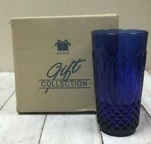 4 NEW AVON ROYAL SAPPHIRE COBALT BLUE 14 OUNCE BEVERAGE GLASSES NEVER USED