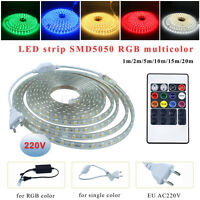 1M-20M Waterproof 5050/5630/2835 LED Strip 220V Flexible Tape Rope Lights Home W
