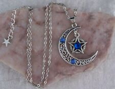 Tibetan Silver Filigree Crescent Moon Blue Diamante Pentagram Necklace.Handmade