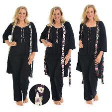 Bodenlange Damen-Pyjama-Sets ohne Muster für die Freizeit