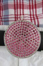 New Women Belt Buckle Silver Metal Trendy Cowgirl Round Light Pink Rhinestones
