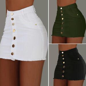 New Women Mini Bodycon Skirt Denim Short Stretch High Waist Jeans Half Dress