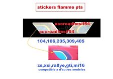 stickers flamme Peugeot talbot Sport 106 205 GTI,rallye104  405 mi16 STI PTS 8cm