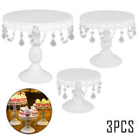 3Pcs Crystal For White Metal Cake Holder Cupcake Stand Wedding Party Display New