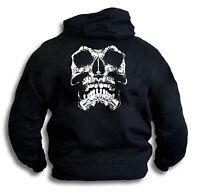 Skull Biker Gothic Pirate Grunge Distressed Mens Hoody Hooded Top Sm -2XL Rear