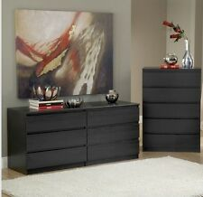 Black 2-Piece Bedroom Dresser Chest Set Home Living Storage Drawers Furniture