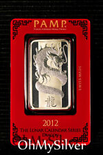 1oz PAMP Suisse Lunar Dragon (2012) .999 Pure Silver Bar (in Assay)