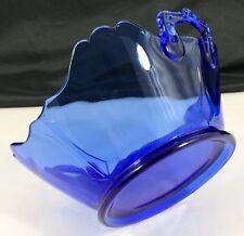 """Vtg L E Smith Cobalt Blue Depression Glass 8"""" Square BOWL Handle Mt Pleasant EX!"""