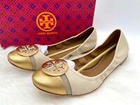 NIB Tory Burch Women's Minnie Cap Toe Leather Flat Ballet Shoe Sz 11M