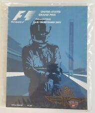 Formula 1 United States Grand Prix 2003 Program F1 w/ Sleeve & Lineup Sheet