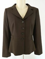 Ann Taylor Women's Blazer Size 10P Brown Wool Blend Lined Career
