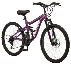 Mongoose Major Mountain Bike, 24-inch wheels, 21 speeds, purple, womens
