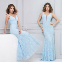 Ever-Pretty V-neck Bridesmaid Prom Dress Long Lace Mermaid Evening Cocktail Gown