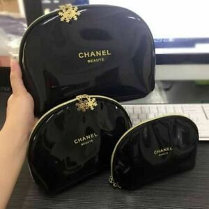 BEAUTIFUL CHANEL BEAUTE VIP SNOWFLAKE SET OF BAGS GENUINE COSMETIC BAG GIFT NEW