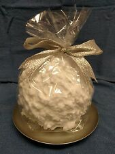 "HOLIDAY TIME SNOWBALL CANDLE w/ BASE (4 3/4"" dia by 4 3/8"" tall)"