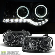 Smoked 2005-2010 Chrysler 300C LED Halo Projector Headlights 05-10 Left+Right