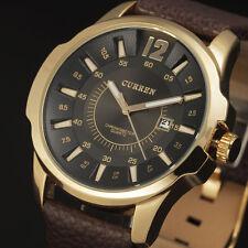 CURREN New Dress Men Quartz Wrist Watch Vintage Leather Band Male Reloj Hombre