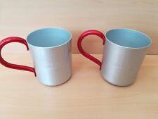 """SMIRNOFF Mule cups x2 embossed logo aluminium/metal 4"""" high good condition pleas"""