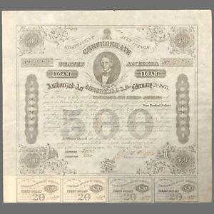 """Confederate States Of America 1863 $500 Civil War loan bond  12x14"""""""