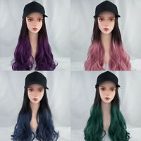 AU_ NE_ AG_ Cy_ Stylish Women Baseball Cap with Synthetic Wig Girl Long Wave Hai