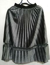 Gunmetal Pleated Velour Skirt