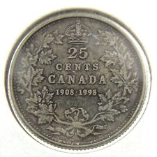 1908 1998 Canada 25 Cents Silver Proof Uncirculated Coin Quarter N604