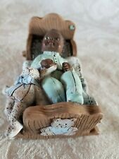"Sarah'S Attic Black Baby Boy in Cradle - Bunny & Blanket ""Lullaby"" Numbered"