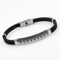 bracciale braccialetto da uomo in acciaio nero c.295