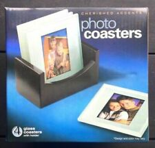 Set 0f 4 Cherished Accents Glass Photo Coasters With Holder