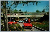 Postcard Anaheim CA c1967 Disneyland Tomorrowland Super Autopia Defunct 1-331
