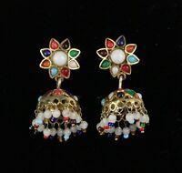 Vintage 925 Sterling Silver Multi-color Beaded Dangle Indi Bell Earrings 10.8g