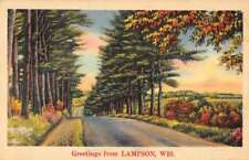 Lampson Wisconsin Greetings From country side road linen antique pc Z47197