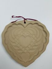 Vintage Brown Bag Cookie Art Mold 1988 Quilted Heart Shortbread Pan Hill Design