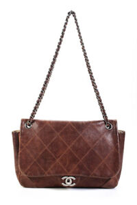 Chanel Womens Fall 2006 Outdoor Ligne Quilted Leather Flap Bag Handbag Brown