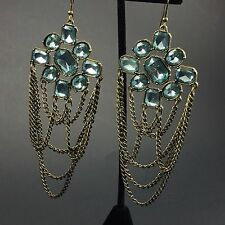 """Long Blue Rhinestone Chain Swag Drop Costume Earrings Antiqued Gold Faceted 5"""""""