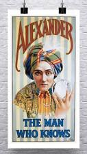 Alexander The Mentalist Vintage Poster Rolled Canvas Giclee Print 17x30 Inches