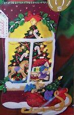 "Bucilla ""CHRISTMAS WINDOW"" OOP Factory New Felt Stocking Kit- Real Lights  85321"
