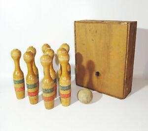 Vecchio Legno Gioco Dei Birilli Vintage Decorazione
