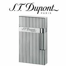More details for st dupont  ligne 2 silver verticle lines soft flame lighter 016817