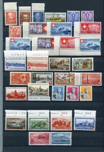 SWITZERLAND 1932-54 MNH COLLECTION 70 Stamps