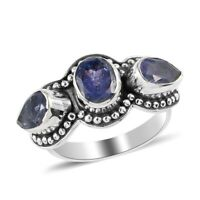 925 Sterling Silver Blue Tanzanite Ring Women Jewelry For Gift Size 9 Ct 2.9