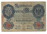 1906 Germany 20 Mark Banknote German Empire Reichsbanknote Paper Money Currency