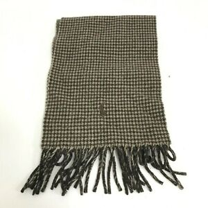 Polo Ralph Lauren Men's Brown Check Long Neck Scarf With Tasselled Ends 422413