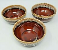 """Casual Brown by SCIO Cereal Bowls BROWN DRIP Made in USA Set of 3 (5-1/4"""" D)"""