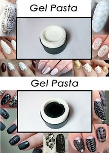 3D White Black Gel Pasta for Volume Texture Nail Art