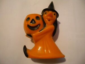 Vintage Halloween Witch Jack o lantern Candy Container Rosbro Plastics Black Hat