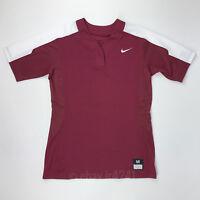New Nike Vapor Pro Button Women's Medium Softball Jersey Maroon Red 821989